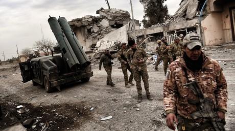 عناصر من القوات العراقية في الموصل الغربية