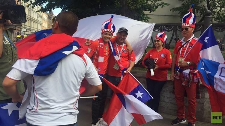 احتفالات صاخبة لجماهير تشيلي في شوارع سان بطرسبورغ قبيل نهائي كأس القارات 2017