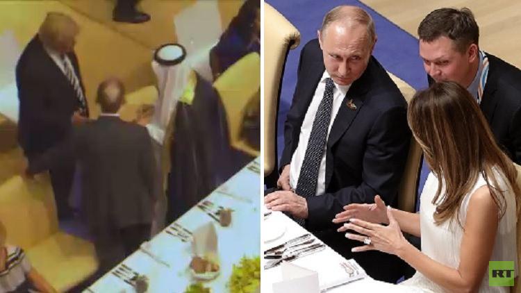 فيديو.. ميلانيا ترامب جلست في المأدبة بجانب بوتين ودونالد ترامب يحادث الوفد السعودي