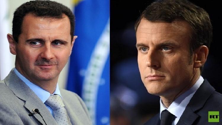 ماكرون: لا يمكن إقران التسوية السورية برحيل الأسد