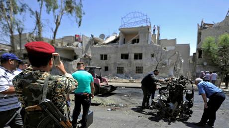 منطقة دوار البيطرة بدمشق، إحدى المناطق التي تعرضت لتفجيرات يوم 2 يونيو/حزيران 2017