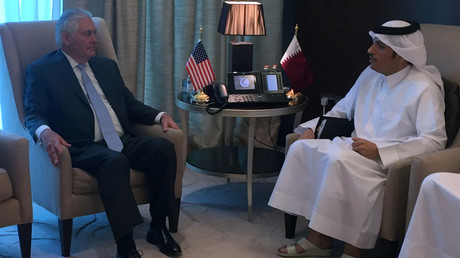 وزيرا الخارجية القطري محمد عبد الرحمن آل ثاني والأمريكي ريكس تيلرسون