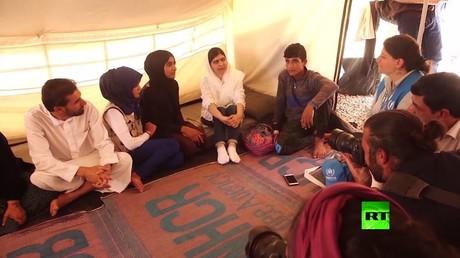 ملالا يوسف زاي تزور نازحي الموصل