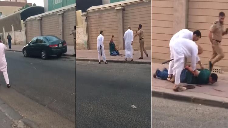 فيديو.. مصري في حالة هيستيرية عقب قتله بالسكين زوجته اللبنانية في الكويت