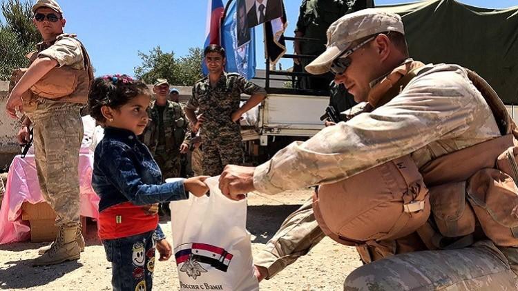 مساعدات إنسانية روسية لسكان غوطة دمشق الشرقية