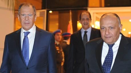 وزيرا الخارجية المصري سامح شكري والروسي سيرغي لافروف