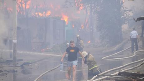 الحريق بمدينة روستوف على الدون