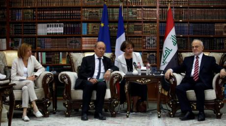 جان إيف لودريان وفلورانس بارلي يعقدان اجتماعا مع إبراهيم الجعفري في بغداد