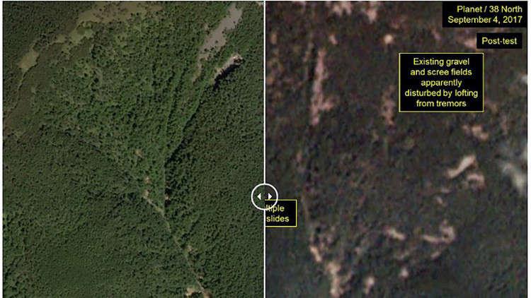 التجربة النووية الأخيرة في كوريا الشمالية شوّهت جبلا