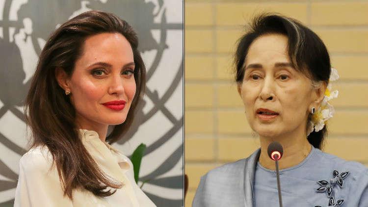 أنجلينا جولي تطالب زعيمة ميانمار بموقف واضح بشأن الروهينغا