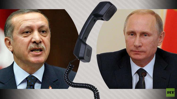 بوتين يبحث مع أردوغان هاتفيا التسوية السورية والأوضاع في المنطقة