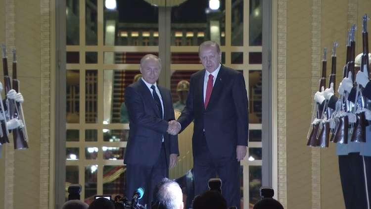 أردوغان يستقبل بوتين في القصر الرئاسي بأنقرة