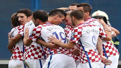 فرحة لاعبي المنتخب الكرواتي بالهدف