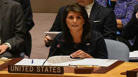 نيكي هايلي، خلال اجتماع لمجلس الأمن حول كوريا الشمالية، 11 سبتمبر 2017