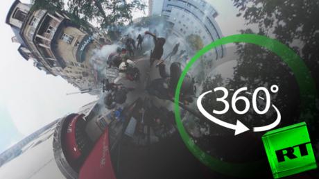 بتقنية 360 درجة.. شتباكات أثناء مظاهرات باريس