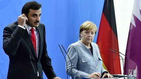 المستشارة الألمانية أنغيلا ميركل وأمير قطر الشيخ تميم بن حمد آل ثاني