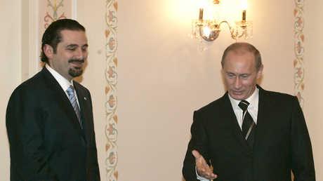 رئيس وزراء لبنان سعد الحريري أثناء لقائه مع الرئيس بوتين  في مدينة  سوتسي