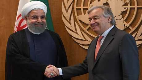 الرئيس الإيراني حسن روحاني والأمين العام للأمم المتحدة أنطونيو غوتيريش (صورة أرشيفية)