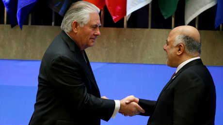 رئيس الوزراء العراقي، حيدر العبادي، ووزير الخارجية الأمريكي، ريكس تيلرسون.