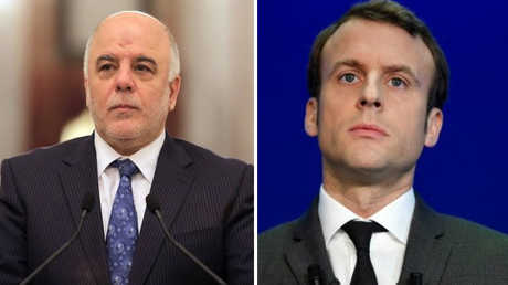 الرئيس الفرنسي، إيمانويل ماكرون، ورئيس الوزراء العراقي، حيدر العبادي،
