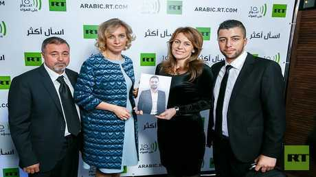 عائلة الفقيد خالد الخطيب مع المتحدثة باسم وزارة الخارجية الروسية، ماريا زاخاروفا