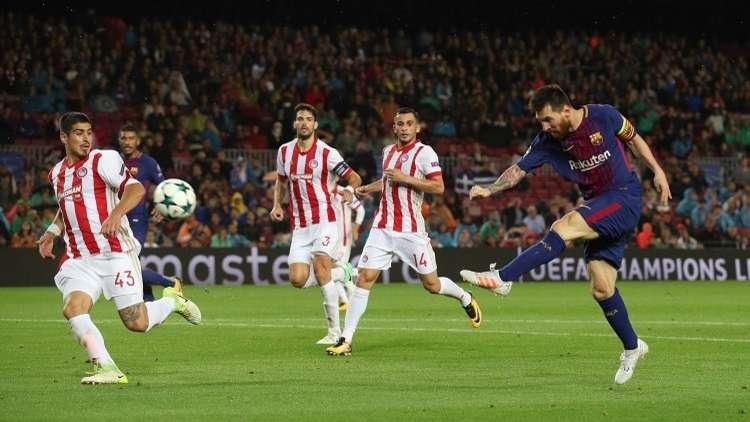 بالفيديو.. برشلونة يجهز على أولمبياكوس بعشرة لاعبين