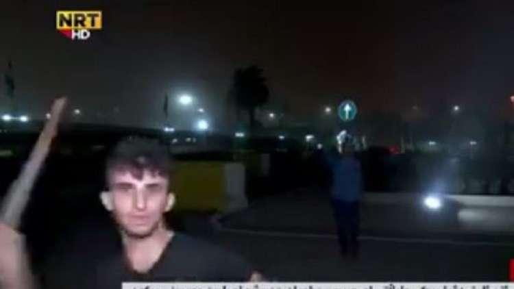 لحظة تعرض فريق قناة كردية للاعتداء في أربيل