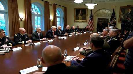 ترامب يلتقي في البيت الأبيض مع كبار القادة العسكريين - واشنطن، الولايات المتحدة، 5 أكتوبر 2017