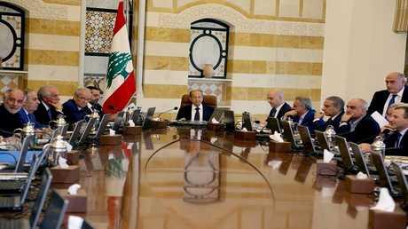 الرئيس اللبناني ميشال عون يرأس اجتماعا لمجلس الوزراء، بعبدا، 28 سبتمبر 2017