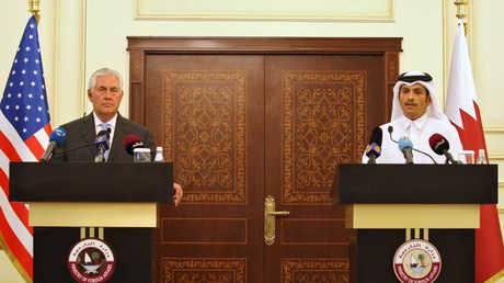 مؤتمر صحفي مشترك لوزير الخارجية القطري، محمد بن عبد الرحمن آل ثاني، ونظيره الأمريكي، ريكس تيلرسون،