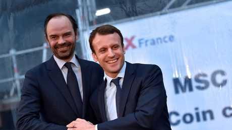 الرئيس الفرنسي إيمانويل ماكرون ورئيس الوزراء إدوارد فيليب