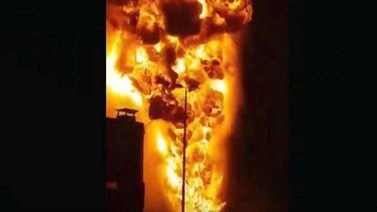 بالفيديو.. لحظة حريق أنابيب النفط في البحرين