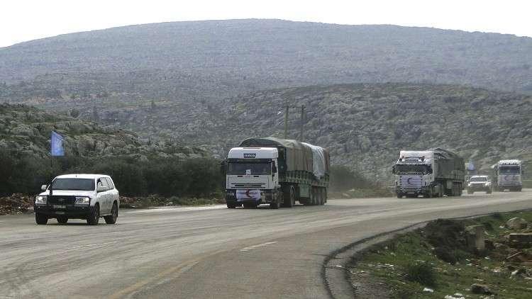 قوات روسية ترافق  قافلة مساعدات إنسانية في ضواحي دمشق