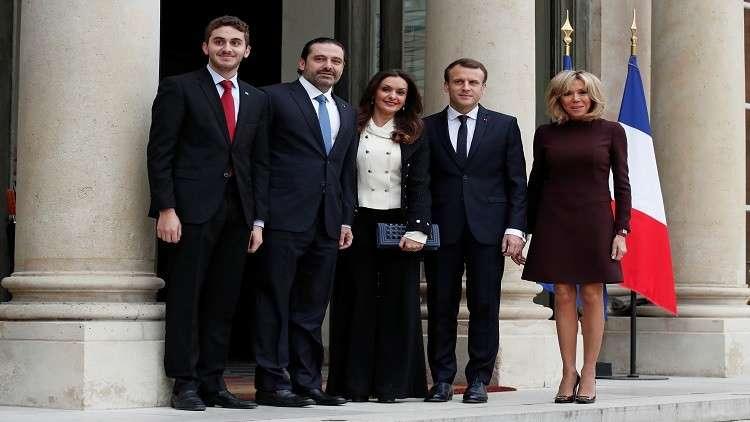 لحظة استقبال ماكرون وزوجته لعائلة الحريري في الإيليزيه