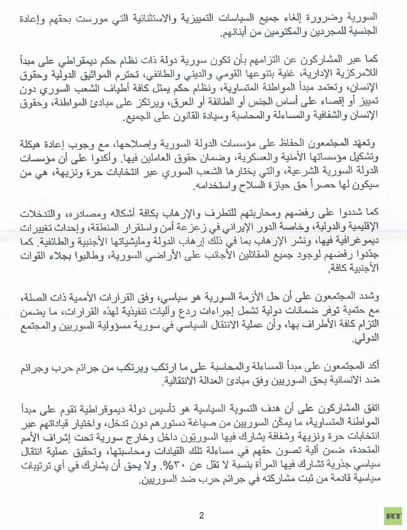البيان الختامي للمؤتمر الموسع للمعارضة السورية في الرياض