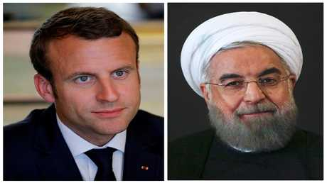 أرشيف - الرئيس الفرنسي إيمانويل ماكرون - الرئيس الإيراني حسن روحاني