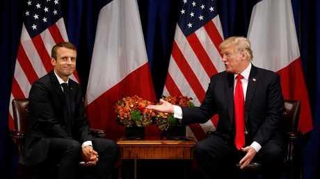 الرئيس الفرنسي إيمانويل ماكرون والرئيس الأميركي دونالد ترامب