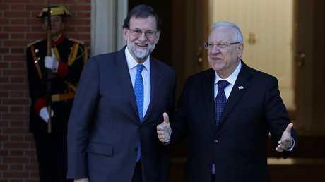 الرئيس الإسرائيلي رؤوفين ريفيلن والملك الإسباني فيليب السادس