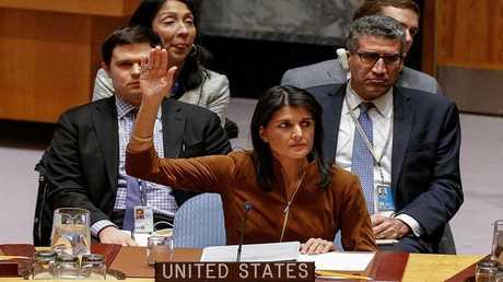 مندوبة الولايات المتحدة لدى الأمم المتحدة، نيكي هايل خلال اجتماع لمجلس الأمن - نيويورك - الولايات المتحدة، 17 نوفمبر 2017
