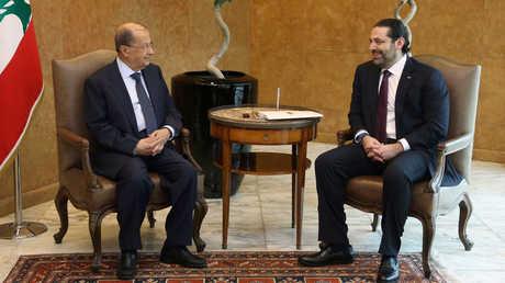 أرشيف  - سعد الحريري صحبة الرئيس اللبناني ميشال عون