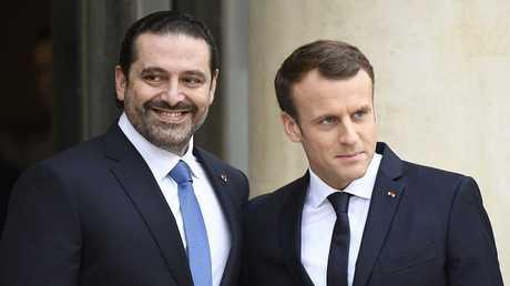 رئيس الوزراء اللبناني المستقيل سعد الحريري والرئيس الفرنسي إيمانويل ماكرون