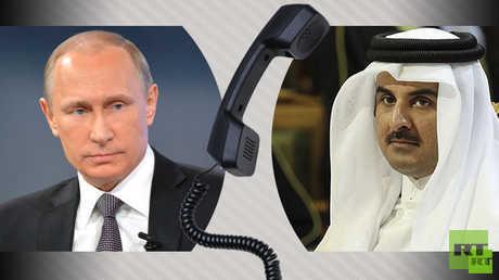 اتصال هاتفي بين الرئيس الروسي فلاديمير بوتين وأمير قطر تميم بن حمد آل ثاني