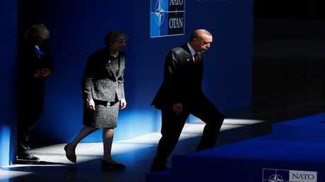أرشيف - ترامب وماي وأردوغان، بروكسل، بلجيكا، 25 أيار 2017