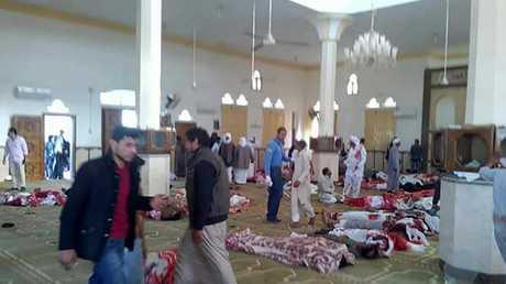 صورة من داخل المسجد المستهدف في العريش