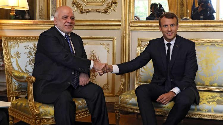 ماكرون يؤكد للعبادي تمسك فرنسا بوحدة العراق