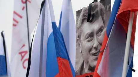 صورة لـ بوريس نيمتسوف خلال مظاهرة احتجاجية في موسكو