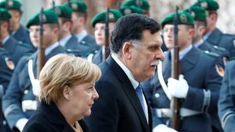 رئيس حكومة الوفاق الوطني الليبي فايز السراج والمستشارة الألمانية أنغيلا ميركل - برلين