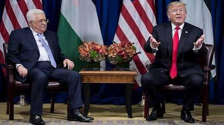 لقاء بين الرئيسين الأمريكي دونالد ترامب والفلسطيني محمود عباس على هامش فعاليات الجمعية العامة للأمم المتحدة في نيويورك، 20/09/2017