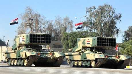 راجمات صواريخ أثناء العرض العسكري في بغداد