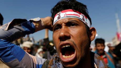احتجاجات في صنعاء ضد الحصار المفروض على اليمن